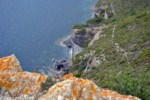 Vista d'una cala nom�s accessible amb barca.
